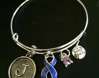 Periwinkle Ribbon Awareness Bracelet / Anorexia / Esophageal Gastric Cancer / Small Intestine Stomach Cancer Survivor / IBS - Initial Charm