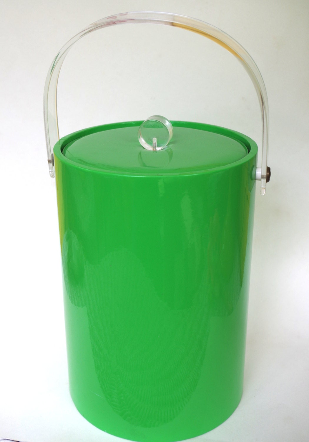 Vintage Mod Ice Bucket Lime Green Vinyl With Lucite Handle And