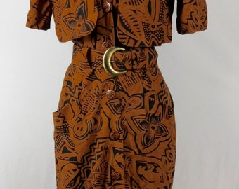 Women's Brown and Black 80s Floral Print Belted Dress With Jacket Detail Size 10, M