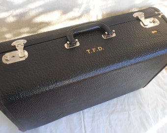 Monogrammed Antique Hard Shell Black Suitcase Vintage Luggage Travel Immaculate Inside
