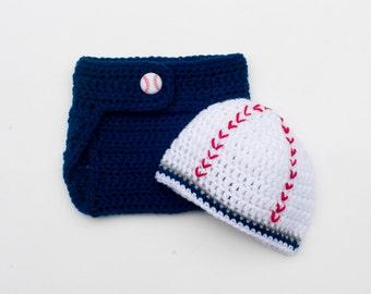 BASEBALL BABY BOY Baseball Beanie, Baseball Diaper, Baby Baseball Outfit, Baseball Crochet Hat, Knit Baseball Cap, Newborn Baseball Boy Gift