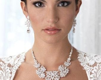 Floral And Lead Pattern Jewelry, Rhinestone Wedding Jewelry Set,Extravant Jewelry Set ,Bridal Accessories,Rhinestone Bridal Jewelry, JS-1649