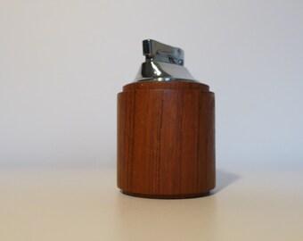 Laurids Lonborg Teak Table Lighter Danish Modern Wood Accessory Chrome and Teak Mid Century Modern Denmark