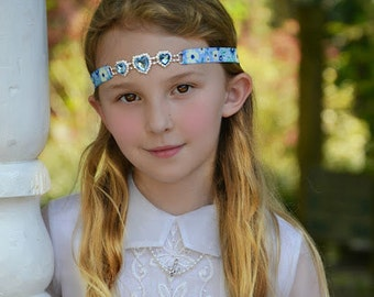 Baby Blue Heart Rhinestone Headband, Elastic Headband, Floral, Prom, Wedding, Bridal, Flower Girl, Babies, Teens, Adults, Flowers, Hearts