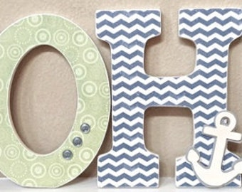 Wooden Nursery Letters - Baby Boy Nursery Decor- Nautical- Personalized Name- any color, theme, bedding- The Rugged Pearl