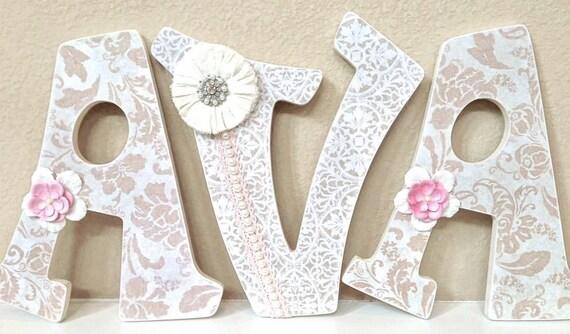 Personalized Wall Decor Letters : Custom nursery letters baby girl decor personalized
