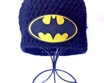 Crochet Hat, Crochet Batman Hat, Batman, Batman Hat,  Hat, Beanie, Batman Beanie, Crochet Chunky Hat, DC Comics, Beanie, Winter Accessories