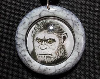 Caesar Necklace in black and white pearl resin + Free Shipping Worldwide ~ Ape Jewelry, Caesar Pendant, Caesar Art, Caesar Ape Drawing