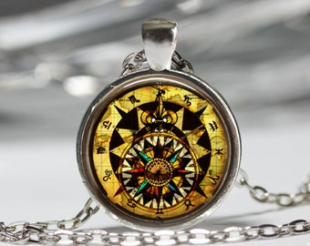 Zodiac Compass Necklace, Vintage Compass Pendant, Zodiac Jewelry [B27]