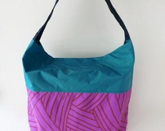 Water proof bag, cross body hobo purse, shoulder bag, hand painted, purple, blue,  color block,happy rainy day