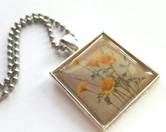 Vintage Style Yellow Flowers - Silver Tray Necklace with Stainless Steel Ball Chain - nature