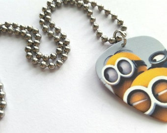 Minion Guitar Pick Necklace with Stainless Steel Ball Chain - animation