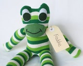 Sock frog, sock animal, softie, plush toy sock monkey. Freddie Frog.