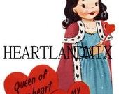 Vintage Valentine Card Download Art Graphic Image printable valentine queen of hearts