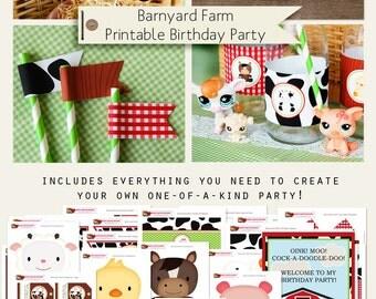 Barnyard Farm Printable Birthday Party Decorations INSTANT DOWNLOAD