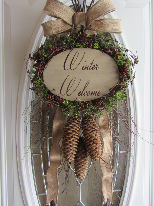 Winter Wreath Welcome Twig Wreath Winter Swag Front Door