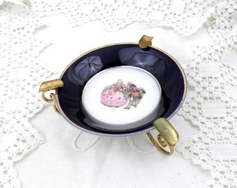"Vintage Metal and Bone China ""Porcelain de Limoges""  Baroque Style Ashtray, Chateau Chic Decor, Retro Home Interior, Gift Idea, Romantic"