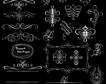 SILVER Digital Frame, Calligraphy Frame, Calligraphic  Border, Swirl clipart, Border clipart, Page Decoration, Text divider Clipart 0567