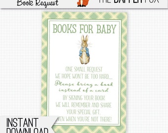 Peter Rabbit Book Request Bring A Book Baby Shower insert card - printable - Beatrix Potter Books for Baby insert Gender Neutral Green