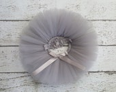 Grey Tutu - Baby Tutu Set - Gray Silver Tutu & Headband Set - Cake Smash Outfit Photo Prop - Newborn Tutu - Infant Tutu - Toddler Tutu