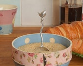 wren, robin sugar spoon, pewter spoon