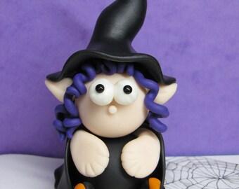 Handmade Miniature Witch, Halloween Miniature Witch Fairy, Witch Sculpture, Witch Figurine, Halloween Decor in Polymer Clay,Fantasy Figurine