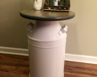 Farmhouse End Table - Rustic Farmhouse End Table - White milk can - wood end table - night stand - side table- milk jug furniture