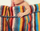 Knit striped baby blanket red grey custard