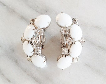 Vintage Kramer of New York Milk Glass Cabochon Rhinestone Clip On Earrings