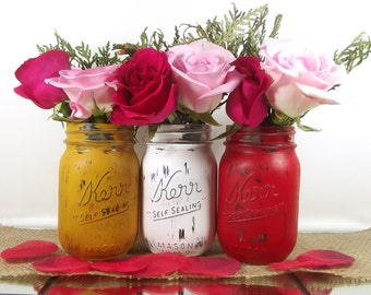 Wedding Mason Jars, Wedding Center Pieces for Tables, Wedding Decoration Ideas, Bridal Shower Decor, Rustic Wedding Decor, Distressed Decor