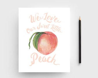 Nursery Wall Art; Sweet Little Peach Art Print; Little Girl's Room Artwork; Peach and Blush Artwork; Baby Girl Artwork