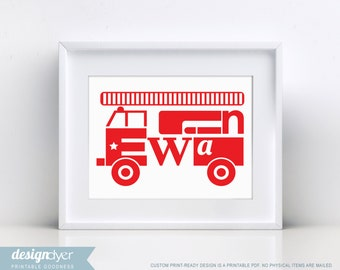 Personalized Printable Fire Truck Wall Artwork