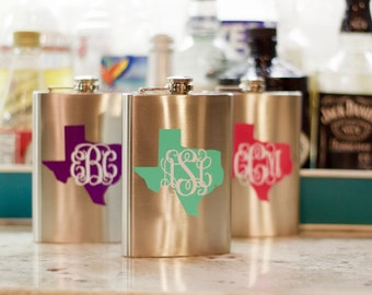 Monogram Flask in Your State! Custom Flask   Bridesmaid Gift