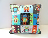 Robot Pillow, 14 Inch Corded Pillow , Playroom Pillow , Silly Robots