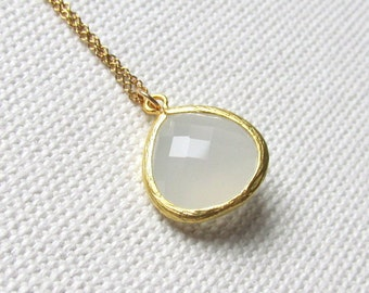 Cloudy White Necklace, 14k Gold Fill Chain White Stone Bridal Bridesmaid Minimal Jewelry, Simple Glass Necklace