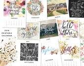 Printable Calendar 2016, Inspirational quotes printable wisdom calendars, quote art print, month year digital DIY desk calendar illustration