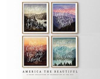 Giclee art prints, Canvas wall Art calligraphy print canvas print quote print landscape art patriotic art print, America the Beautiful