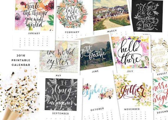 Calendar Inspirational 2016 : Items similar to printable calendar inspirational