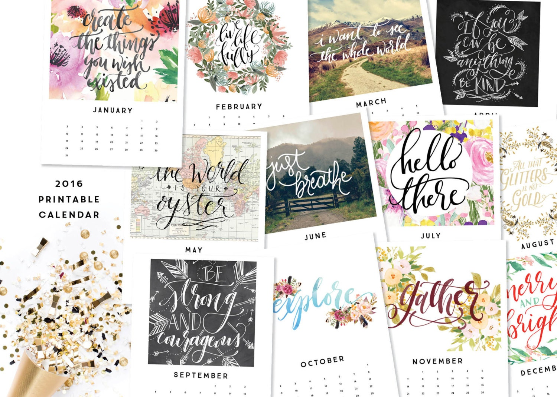 Calendar Inspirational 2016 : Printable calendar inspirational quotes by
