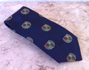 Vintage Mens Necktie, Ralph Lauren - Polo Trad Classic Navy Blue Tie with Crest Shield Accents - Silk Tie – Hand Made in USA - FREE SHIPPING