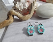 Hand-woven, Southwestern, Drop, Dangle Owl, Bird Earrings Made With Turquoise and Rose Delica, Seed Beads for Summer, Spring, Gift for Her
