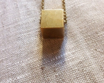 C U B E - Solid Brass Cube Necklace