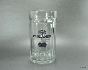 Paulaner Clear Glass Beer Mug Blue Gold Vintage Munchner Specialitaten Brauerei