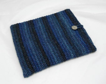Crochet Tablet Case/ Cover/ Sleeve for iPad or 9 inch Kindle or Nook Tablets, Blue Striped Tablet Cover, Stocking Stuffer, Tablet Accessory