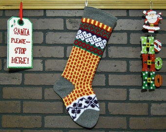Hand Knit Christmas Stocking with Grey Cuff, White Hearts and Purple Flowers, Fair Isle Stocking, Can be Personalized, Wedding or Baby Gift