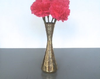 vintage etched brass vase boho decor