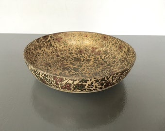 vintage paper mache bowl Alcohol Proof gold florals rustic cottage chic
