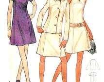 Vintage 70's Aline Dress Jacket Sewing Pattern Curved Seaming Slit Jewel Neckline Size 14 1/2 Bust 37 Butterick 5865 Complete