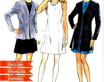 Sleeveless Princess Seam Dress Pattern Size 6 - 16 Collarless Coat Jacket Vintage New Look 6411 Sewing Pattern Uncut Factory Folds