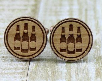 Beer Bottles Copper Wood Cufflinks - Beer Lover - Wedding Gift Idea - Unique Groom Groomsmen present - Rustic Wedding - Groom Cuff Links